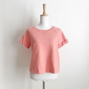 Anthro  Eri+Ali Peach Short Sleeve Sweatshirt